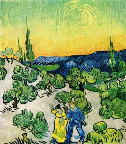 Van Gogh, Vincent: Couple Walking among Olive Trees in a Mountainous Landscape with Crescent Moon. Fine Art Print/Poster (004199)